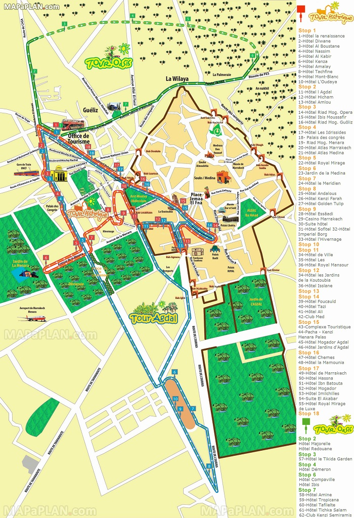 Marrakech Hop-On Hop-Off Bus Tour Map