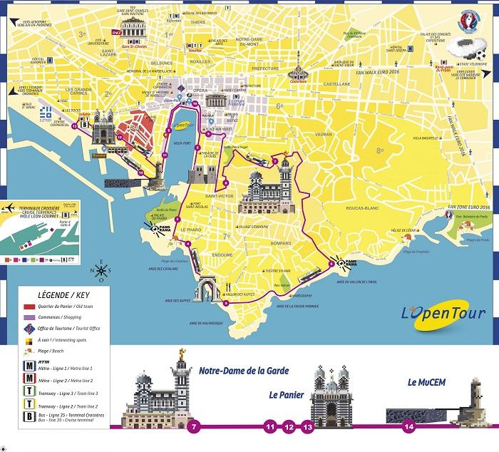 Marseille Hop-On Hop-Off Bus Tour Map