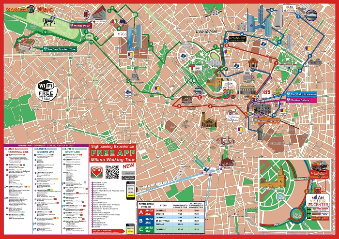 City Sightseeing Hop-On Hop-Off Milan Bus Tour Map
