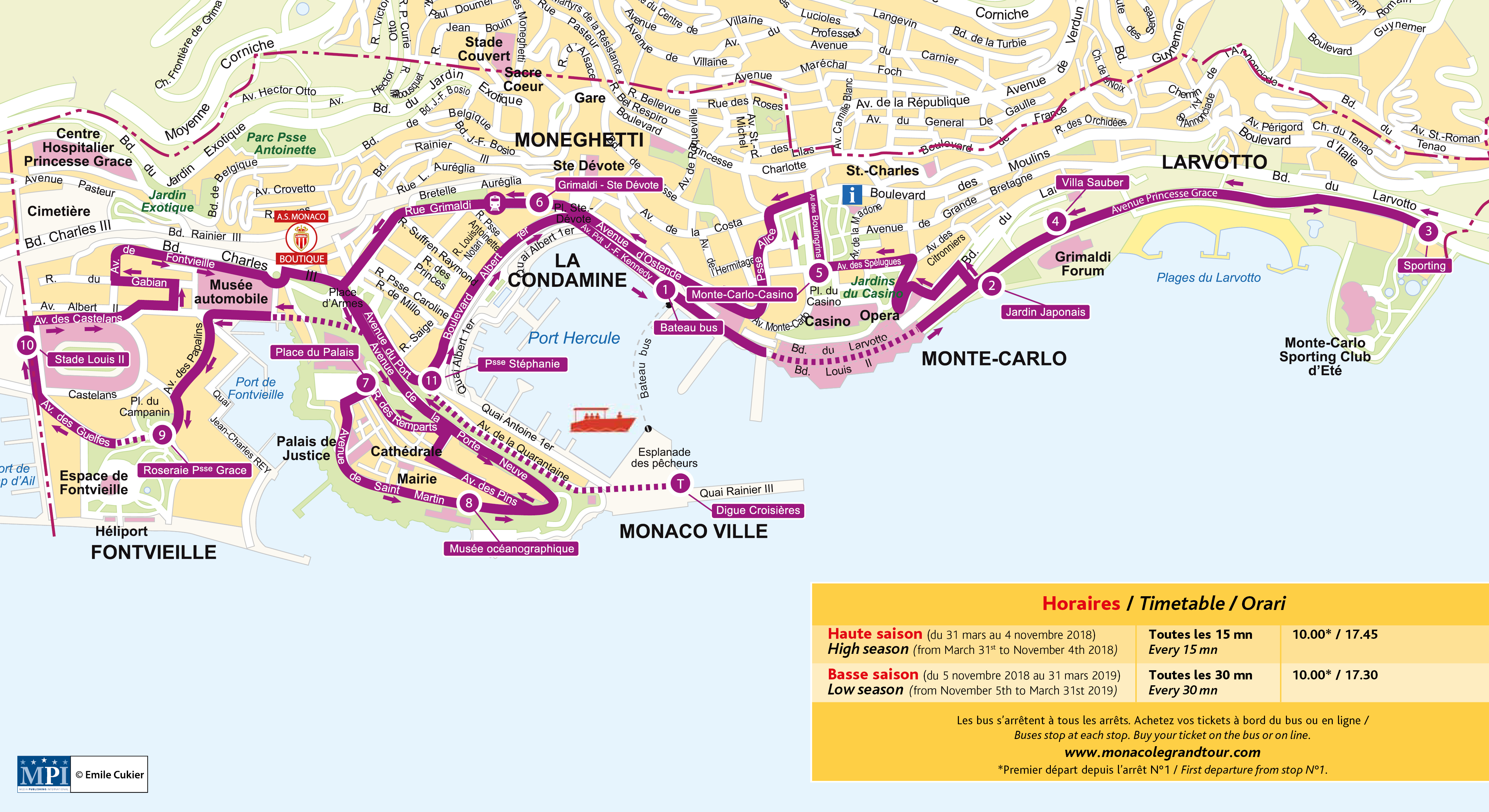 Monaco Hop-On Hop-Off Bus Tour Map