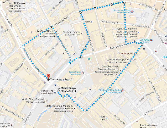 Moscow Walking Tour Map