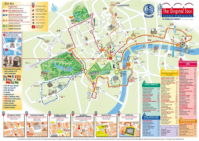 The Original London Sightseeing Bus Tour Map