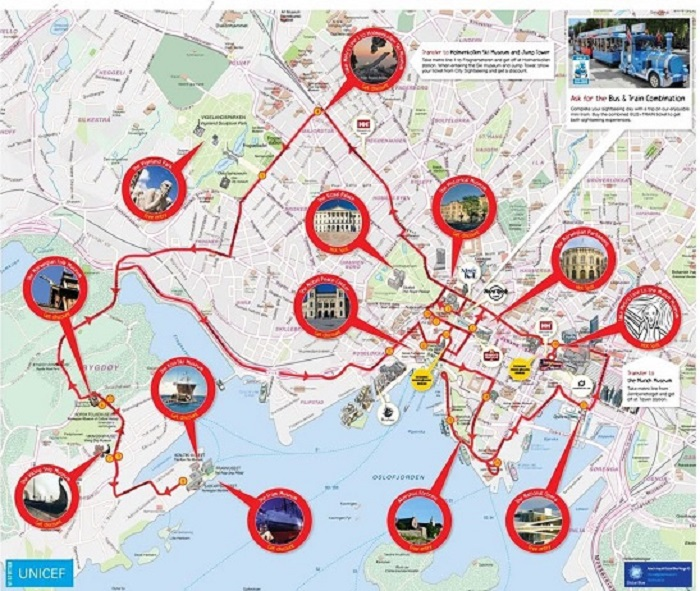 Oslo Hop-On Hop-Off Bus Tour Map