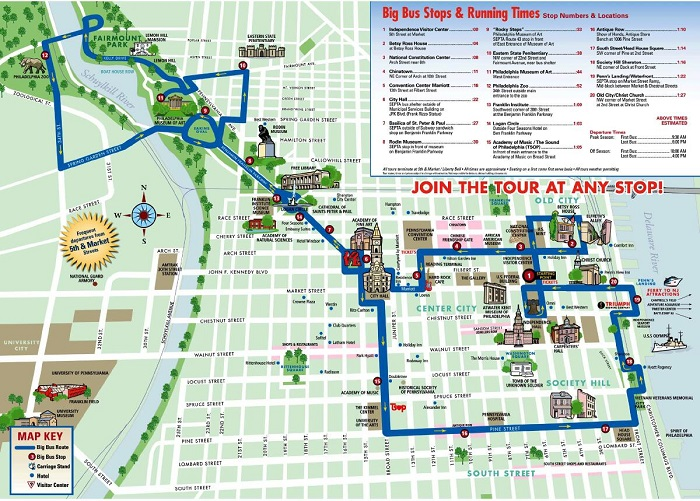 Philadelphia Bigbus Hop-On Hop-Off Bus Tour Map