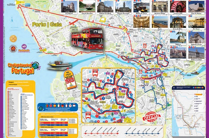 Porto City Sightseeing Hop-On Hop-Off Bus Tour Map