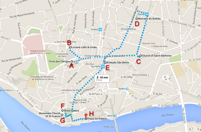Porto Walking Tour Map