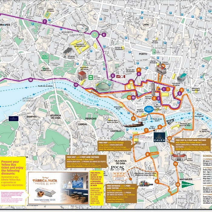 Porto Yellowbus Hop-On Hop-Off Bus Tour Map