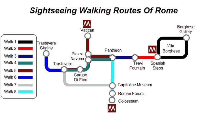 Rome Walking Tour Map