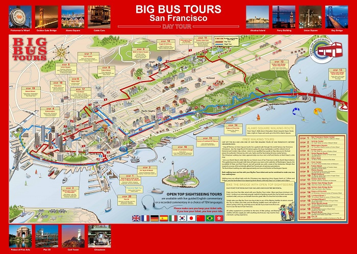 San Francisco Bigbus Hop-On Hop-Off Bus Tour Map