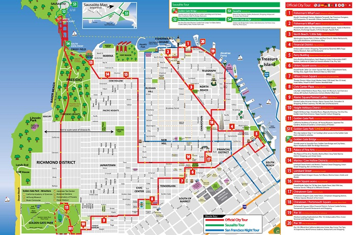 San Francisco City Sightseeing Hop-On Hop-Off Bus Tour Map