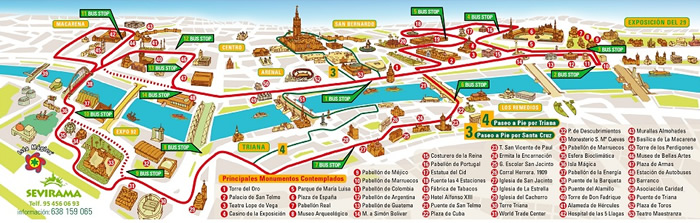 Seville Hop-On Hop-Off Bus Tour Map