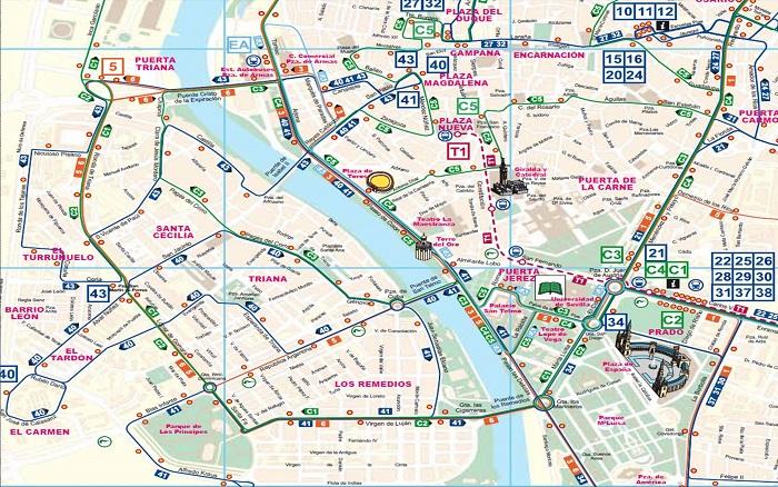 Seville Transport Map