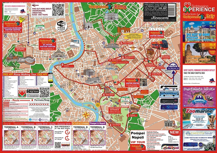 Rome Sightseeing Roma Bus Tour Map