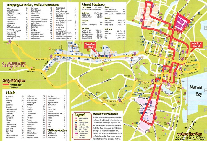 Singapore Hop-On Hop-Off Bus Tour Map