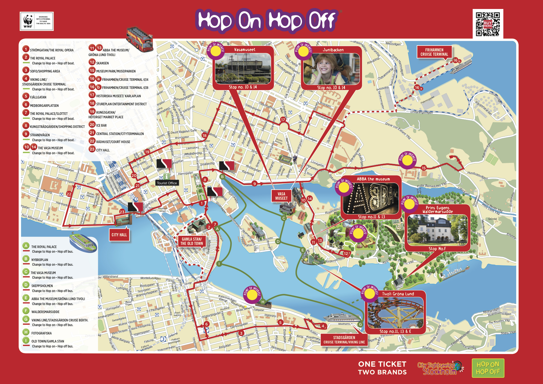 Stockholm Hop-On Hop-Off Bus Tour Map