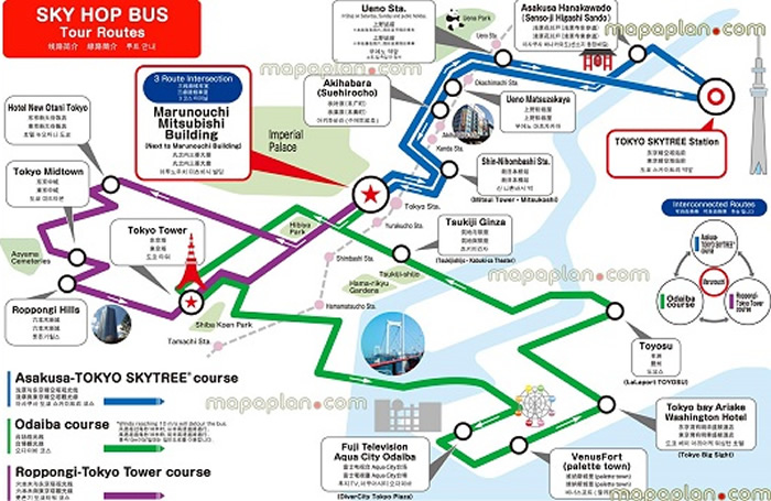 Tokyo Hop-On Hop-Off Bus Tour Map