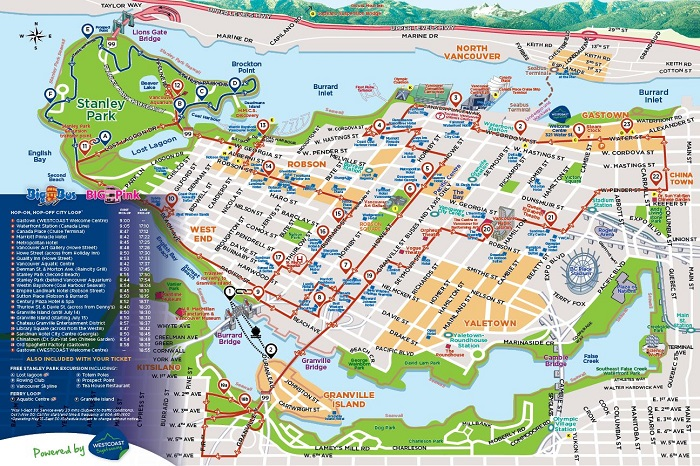 Vancouver Hop-On Hop-Off Bus Tour Map