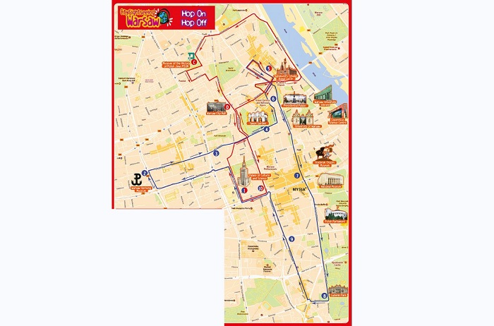 Warsaw Hop-On Hop-Off Bus Tour Map