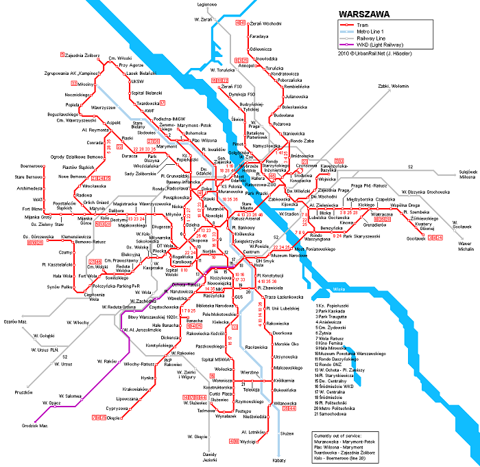 Warsaw Transport Map
