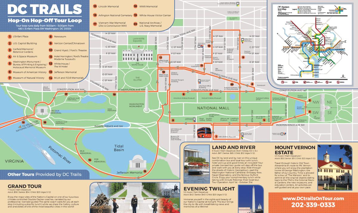 Washington Hop-On Hop-Off Bus Tour Map