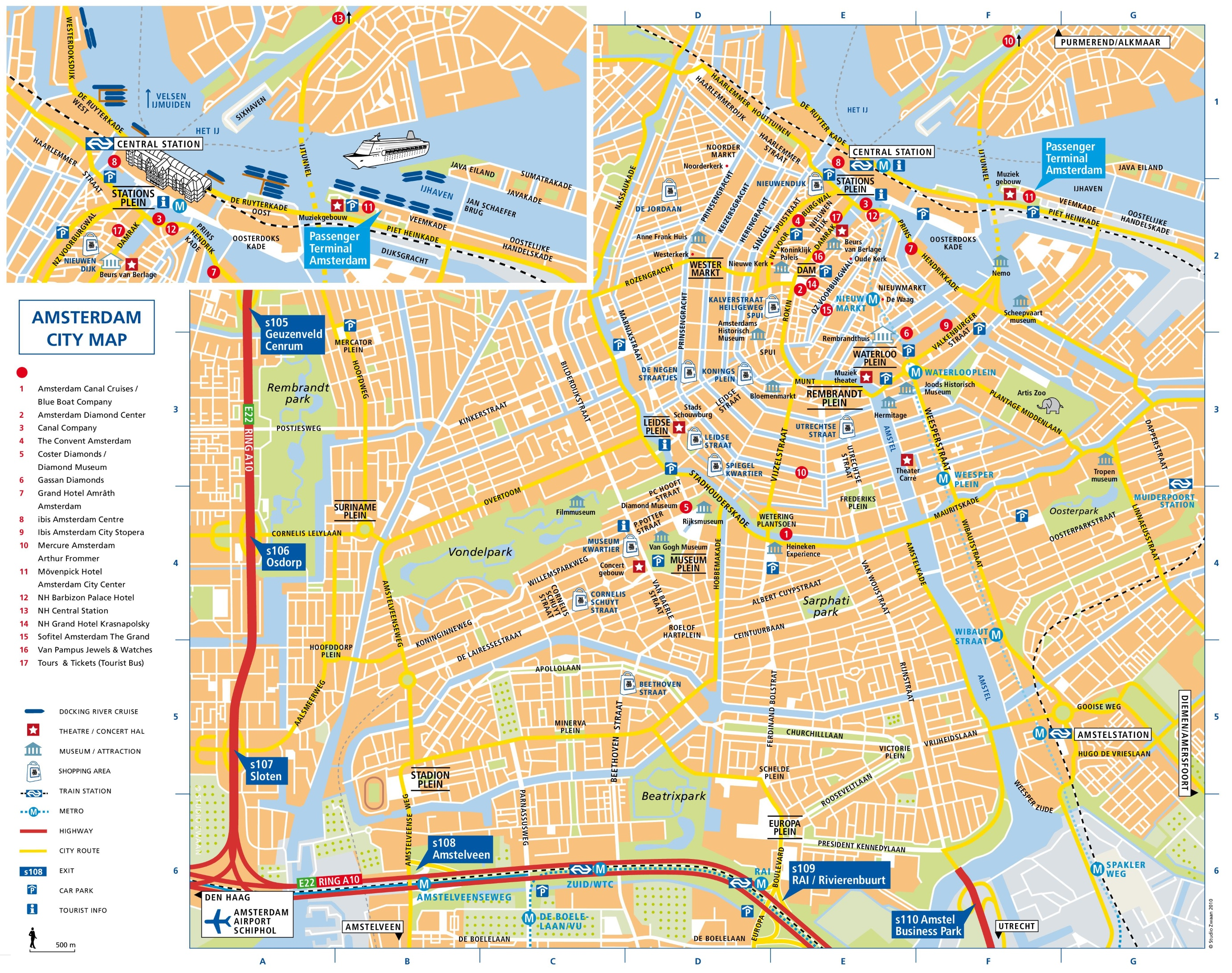Amsterdam Tourist Map Amsterdam Attractions Map PDF   FREE Printable Tourist Map