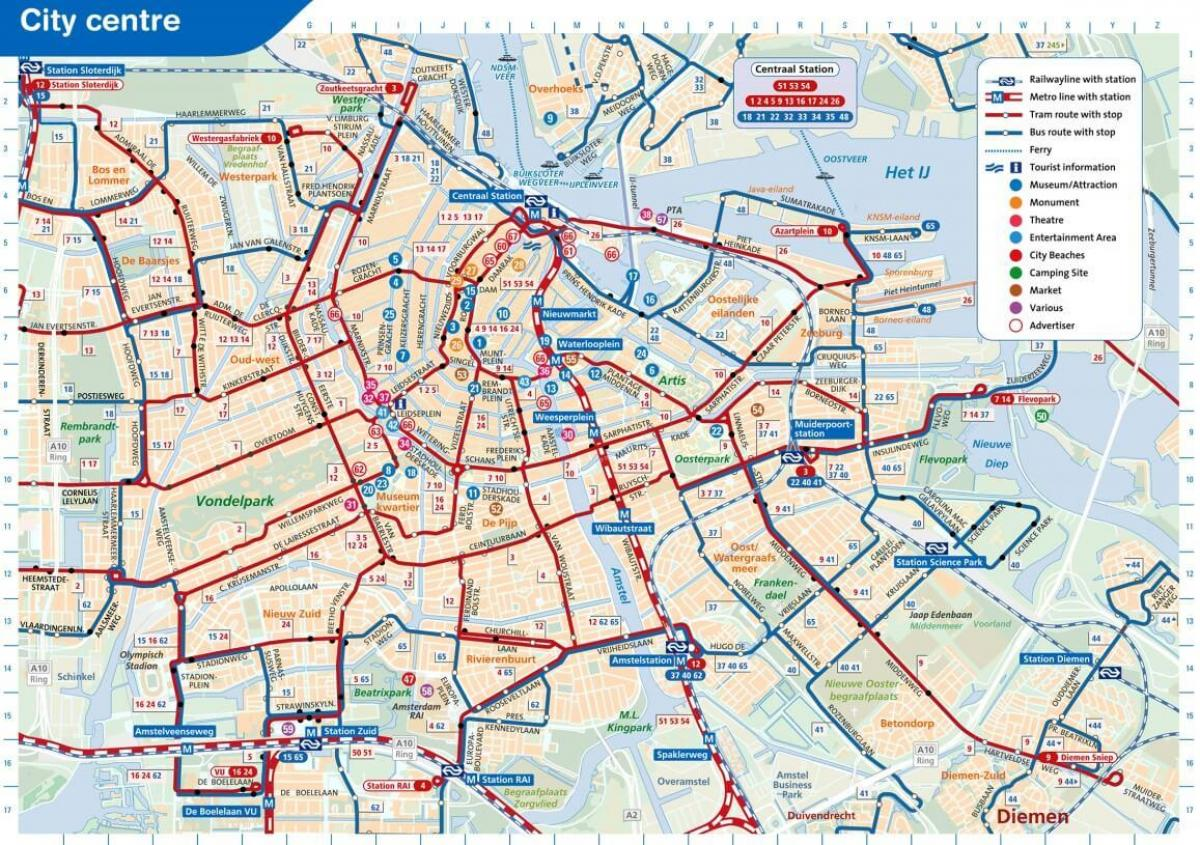 Subway Map Of Amsterdam.Amsterdam Attractions Map Pdf Free Printable Tourist Map Amsterdam