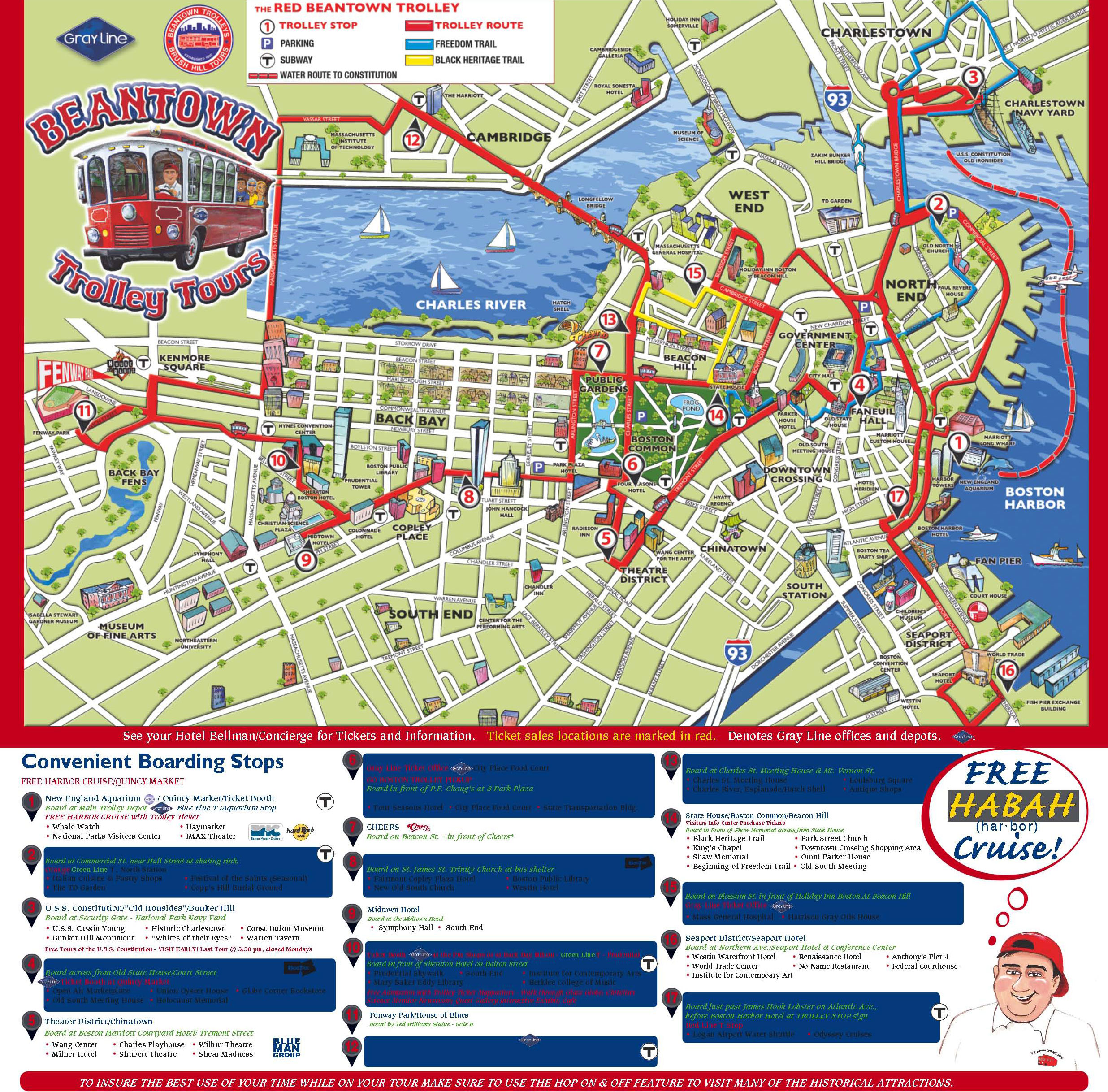 old town trolley tours boston map Map Of Boston Attractions And Hotels 2018 World S Best Hotels old town trolley tours boston map