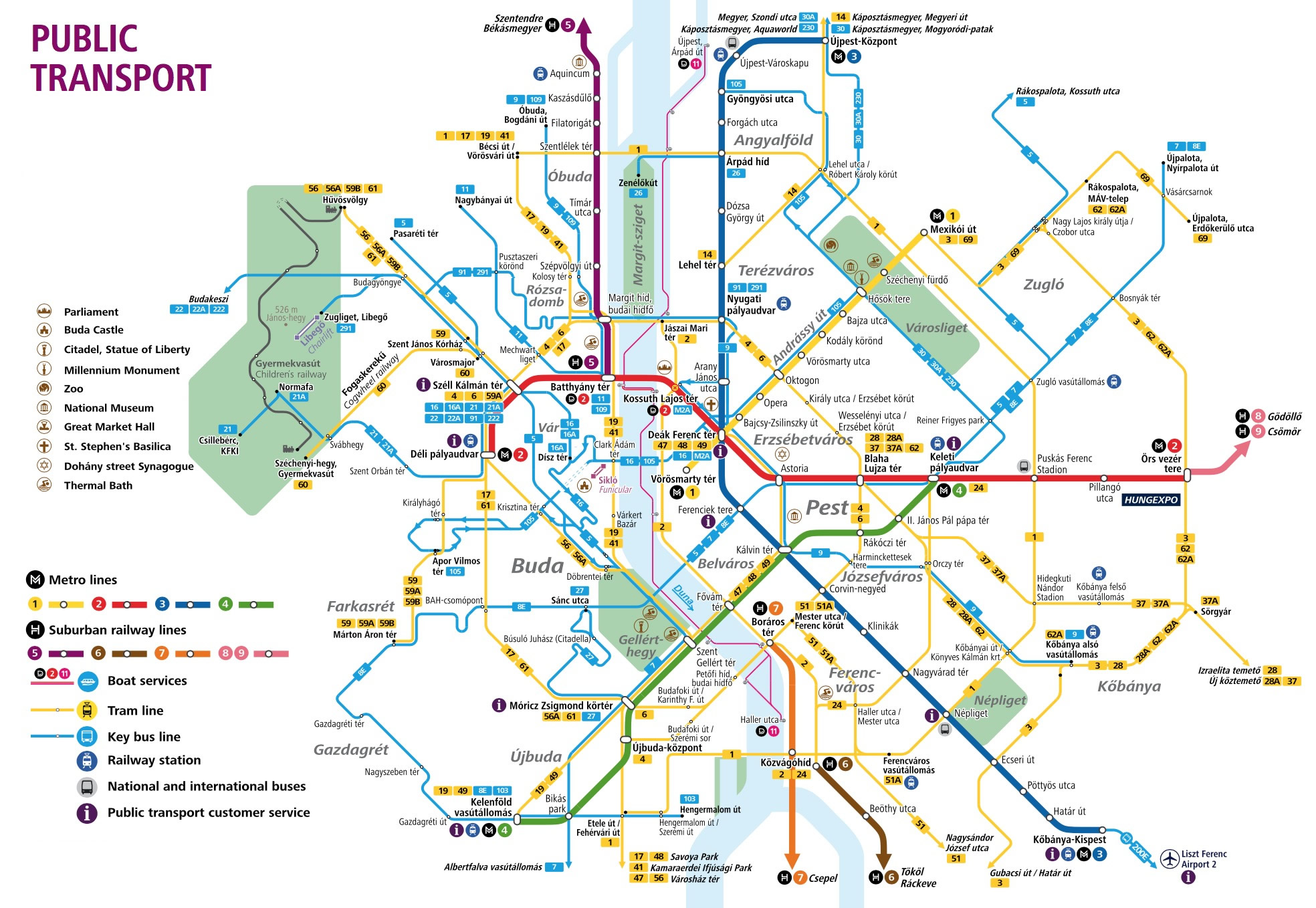 Budapest Subway Map English.Budapest Attractions Map Pdf Free Printable Tourist Map Budapest