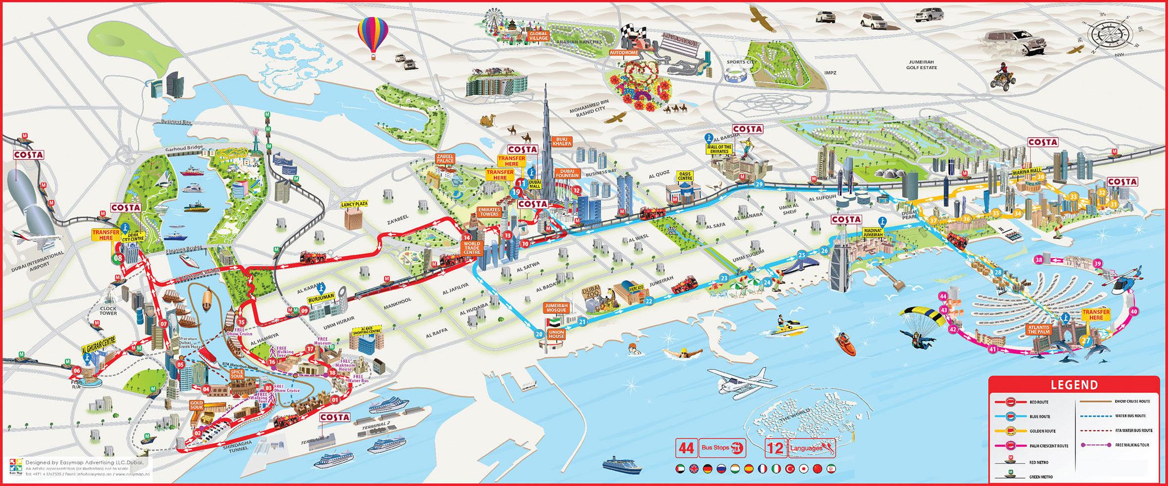 Dubai Hop On Hop Off Bus, Route Map PDF, Combo Deals 2019 ... on