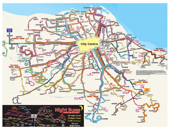 Edinburgh Hop On Hop Off Bus Route Map Pdf Stops 2019