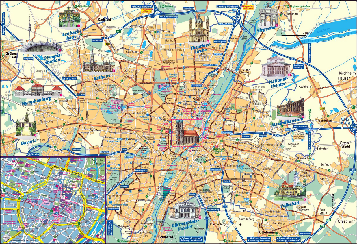Map Of Munich Munich Attractions Map PDF   FREE Printable Tourist Map Munich