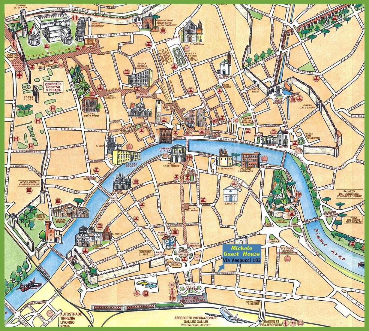 Map Of Pisa Italy Pisa Attractions Map PDF   FREE Printable Tourist Map Pisa, Waking