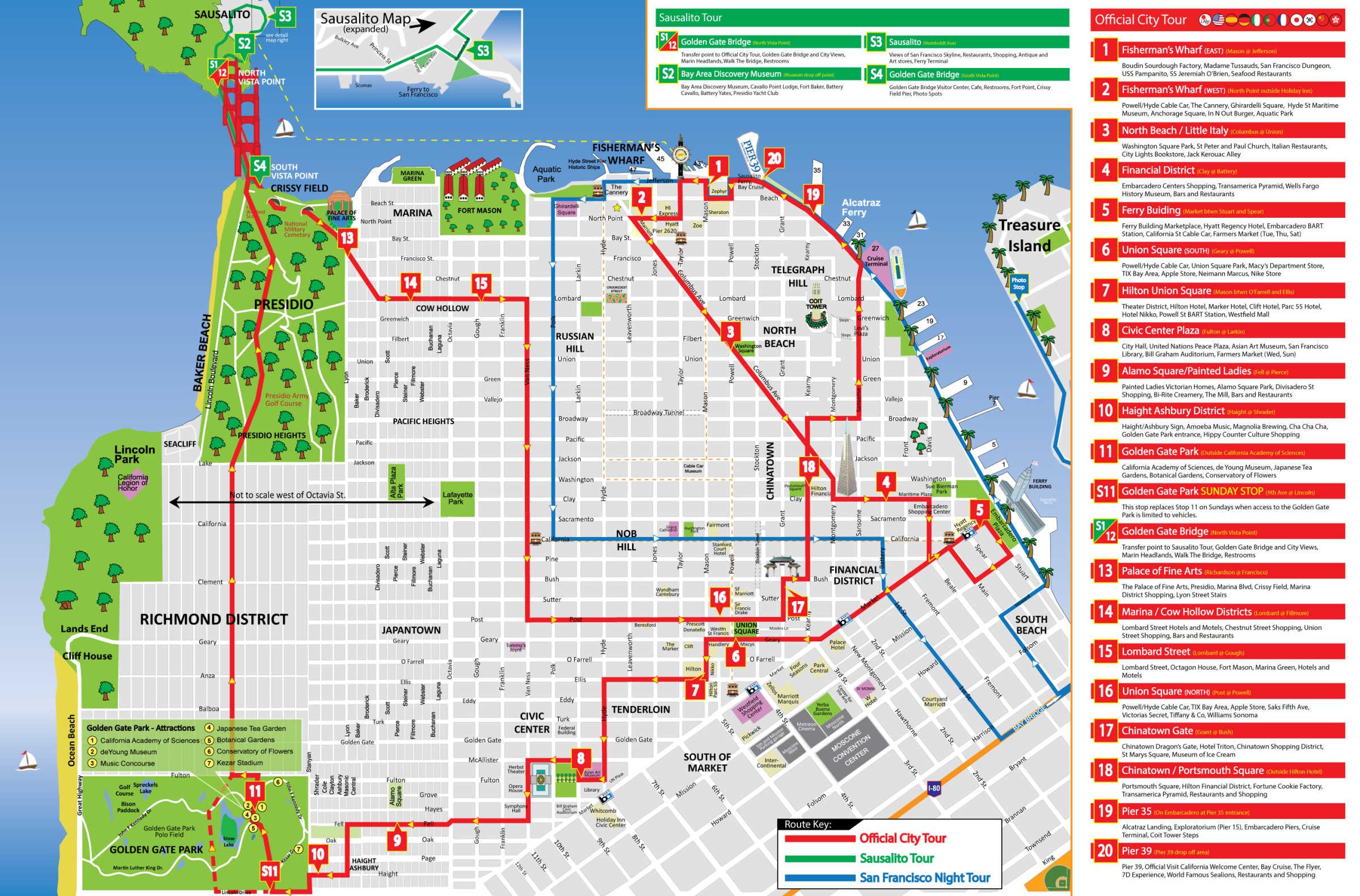 Big Bus Tour San Francisco Map San Francisco Hop On Hop Off | Bus Route Map | Combo Deals 2020