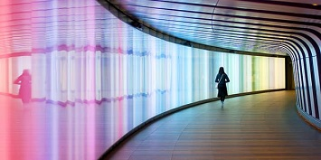 Passing through the Light-Up Tunnel at The King's Cross