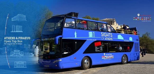 Sights Of Athens Hop On Hop Off Sightseeing Blue Bus Piraeus and Beaches Tickets