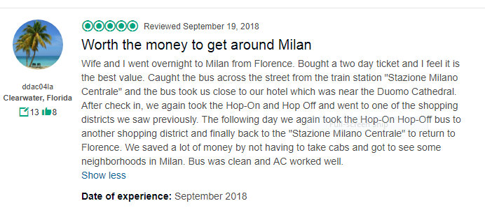 Milan Hop On Hop Off Bus Reviews